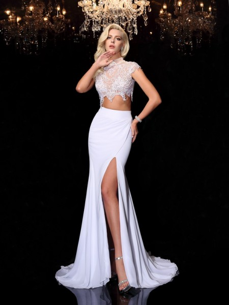 Sheath/Column Lace Court Train High Neck Short Sleeves Chiffon Dresses