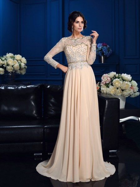 A-Line/Princess Beading Sweep/Brush Train Scoop Long Sleeves Chiffon Mother of the Bride Dresses