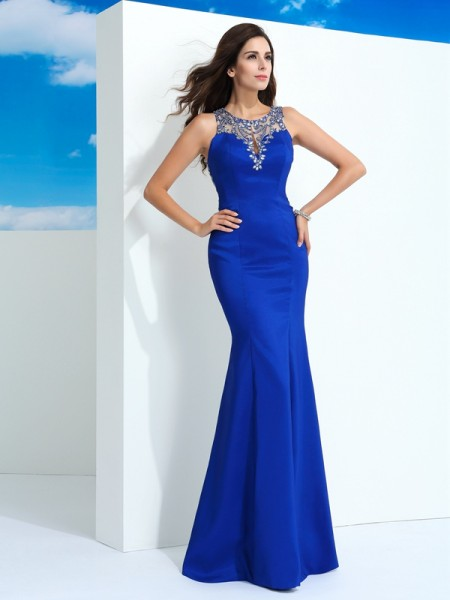 Sheath/Column Beading Floor-Length Sheer Neck Sleeveless Chiffon Dresses