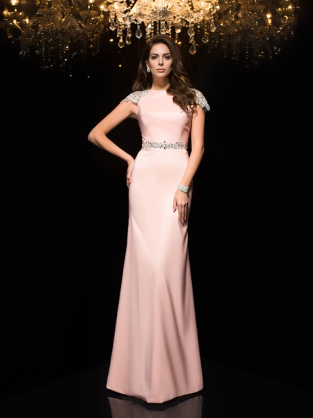 Sheath/Column Beading Floor-Length Jewel Short Sleeves Satin Dresses