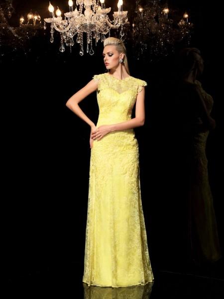 Sheath/Column Lace Floor-Length Sheer Neck Sleeveless Chiffon Dresses