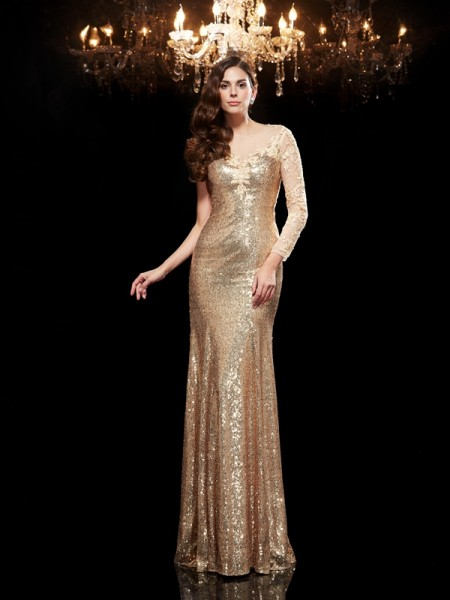 Trumpet/Mermaid Lace Floor-Length Scoop 3/4 Sleeves Sequins Dresses