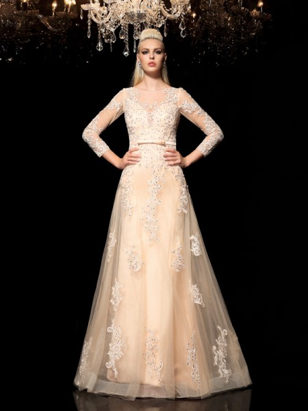A-Line/Princess Applique Floor-Length Sheer Neck Long Sleeves Satin Dresses