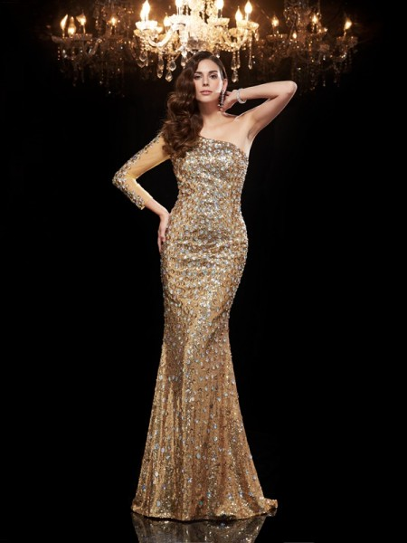 Trumpet/Mermaid Beading Floor-Length One-Shoulder 3/4 Sleeves Sequins Dresses