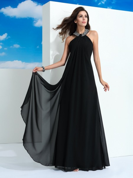 A-Line/Princess Beading Floor-Length Halter Sleeveless Chiffon Dresses