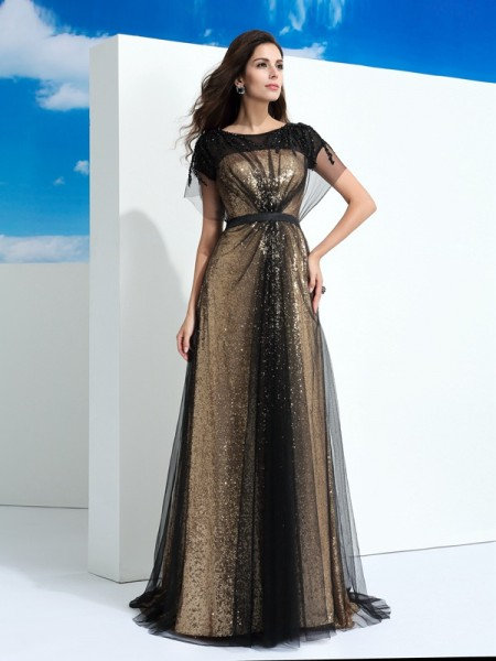 A-Line/Princess Paillette Floor-Length Sheer Neck Short Sleeves Net Dresses