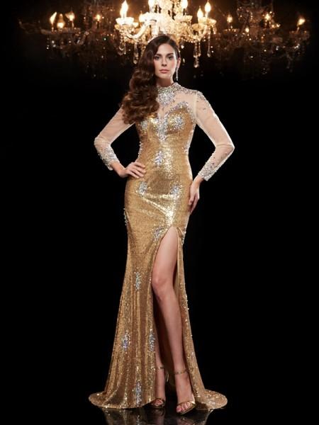 Trumpet/Mermaid Beading Sweep/Brush Train High Neck 3/4 Sleeves Sequins Dresses