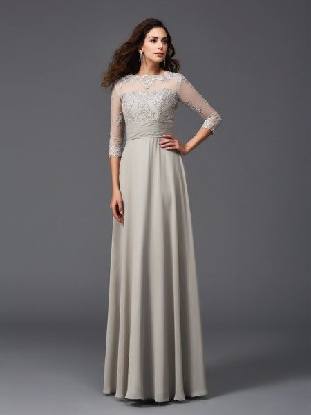 A-Line/Princess Applique Floor-Length Scoop 3/4 Sleeves Chiffon Dresses