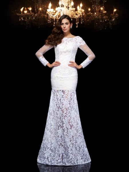 Trumpet/Mermaid Lace Floor-Length Scoop 3/4 Sleeves Lace Dresses