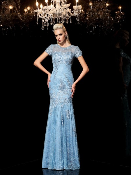 Sheath/Column Applique Floor-Length Sheer Neck Short Sleeves Lace Dresses
