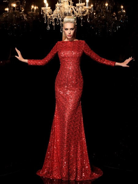 Sheath/Column Sequin Sweep/Brush Train Scoop Long Sleeves Sequins Dresses