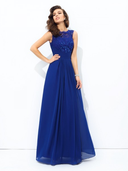 A-line/Princess Lace Floor-length Scoop Sleeveless Chiffon Dresses