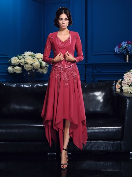 A-Line/Princess Applique Asymmetrical V-neck Sleeveless Chiffon Mother of the Bride Dresses