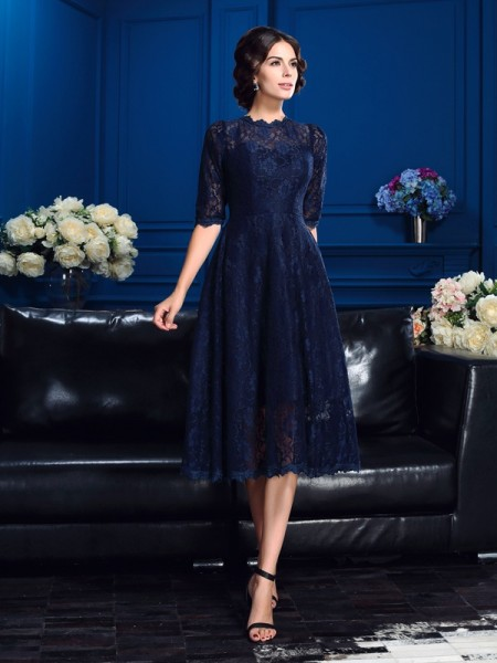 A-Line/Princess Lace Knee-Length Jewel 1/2 Sleeves Lace Mother of the Bride Dresses