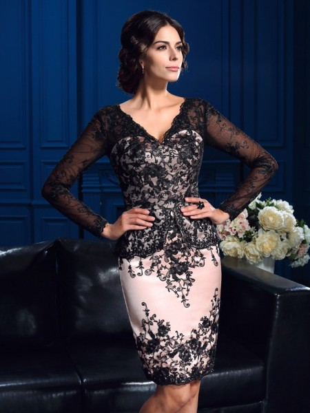 Sheath/Column Applique Short/Mini V-neck Long Sleeves Lace Mother of the Bride Dresses
