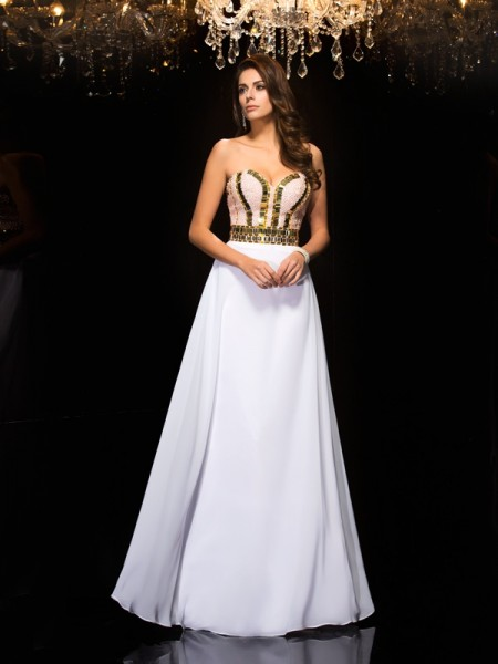 A-Line/Princess Sequin Floor-Length Sweetheart Sleeveless Chiffon Dresses