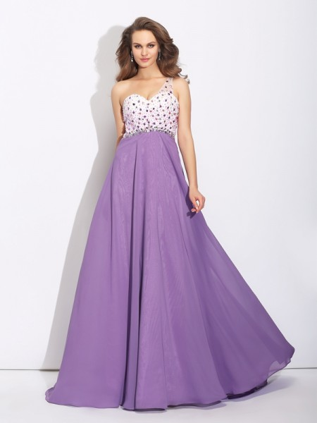 A-Line/Princess Crystal Sweep/Brush Train One-Shoulder Sleeveless Chiffon Dresses