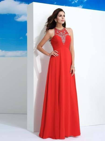 A-Line/Princess Beading Floor-Length Sheer Neck Sleeveless Chiffon Dresses