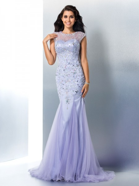 Trumpet/Mermaid Beading Sweep/Brush Train Sheer Neck Sleeveless Satin Dresses