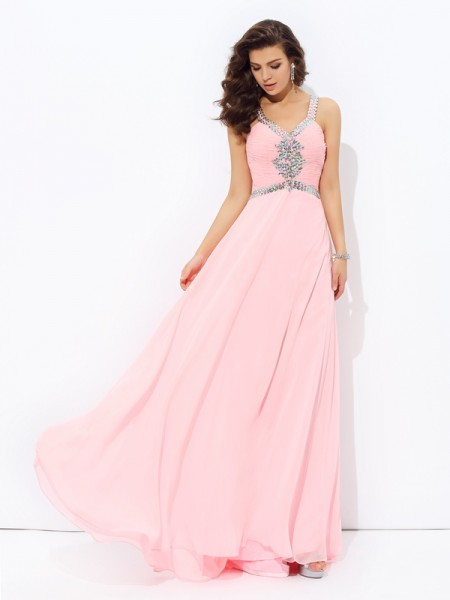A-line/Princess Beading Floor-length Straps Sleeveless Chiffon Dresses