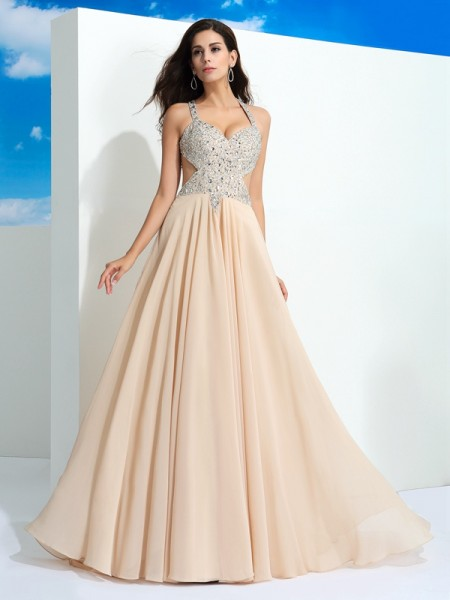 A-Line/Princess Beading Sweep/Brush Train Straps Sleeveless Chiffon Dresses