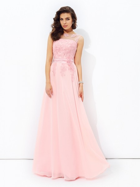 A-line/Princess Applique Floor-length Scoop Sleeveless Chiffon Dresses