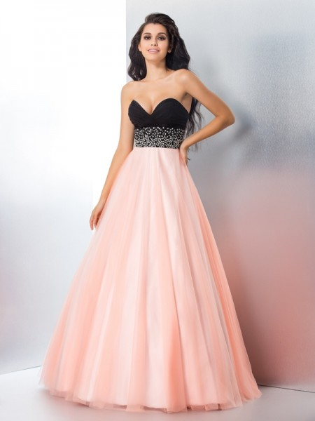 Ball Gown Beading Floor-Length Sweetheart Sleeveless Satin Dresses