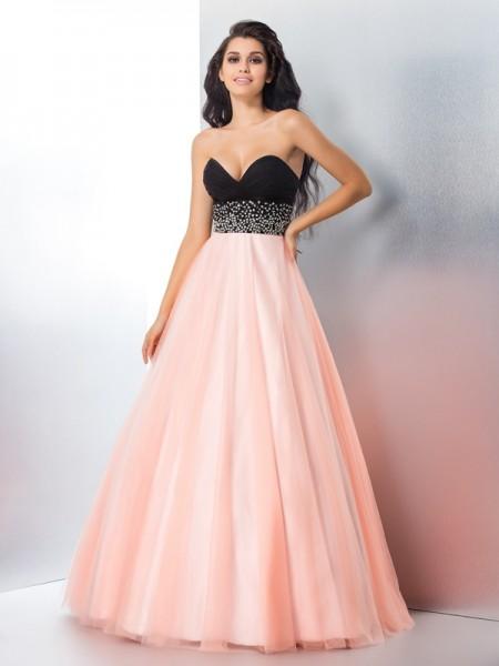 Ball Gown Beading Floor-Length Sweetheart Sleeveless Satin Dresses
