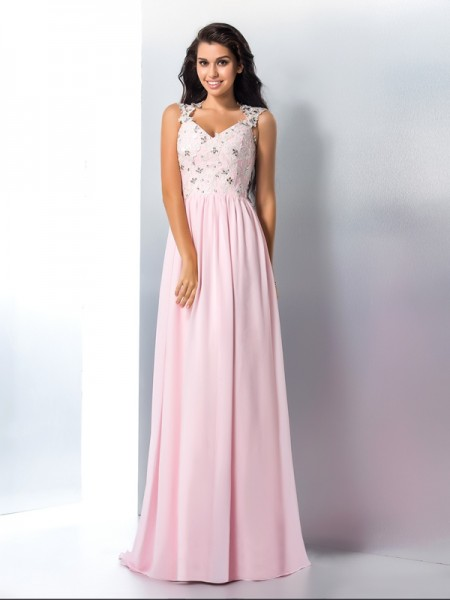 A-Line/Princess Applique Sweep/Brush Train V-neck Sleeveless Chiffon Dresses