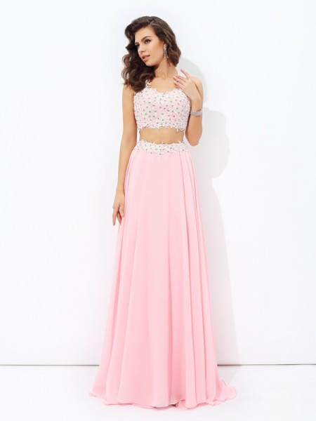 A-line/Princess Applique Floor-Length Straps Sleeveless Chiffon Dresses
