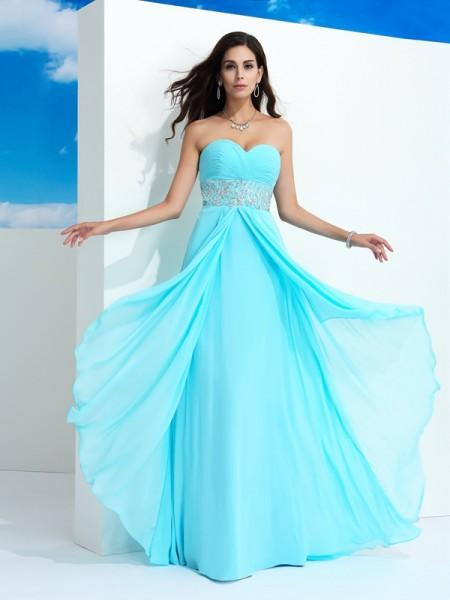 A-Line/Princess Beading Floor-Length Sweetheart Sleeveless Chiffon Dresses