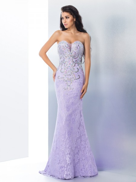 Trumpet/Mermaid Beading Sweep/Brush Train Sweetheart Sleeveless Lace Dresses
