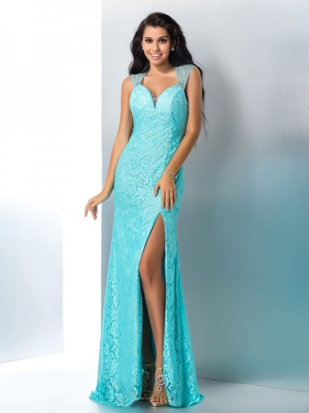 Trumpet/Mermaid Beading Floor-Length Sweetheart Sleeveless Lace Dresses