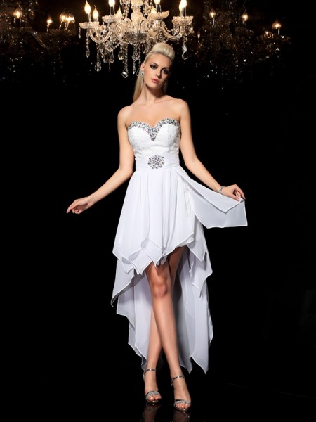 A-Line/Princess Beading Asymmetrical Sweetheart Sleeveless Chiffon Cocktail Dresses