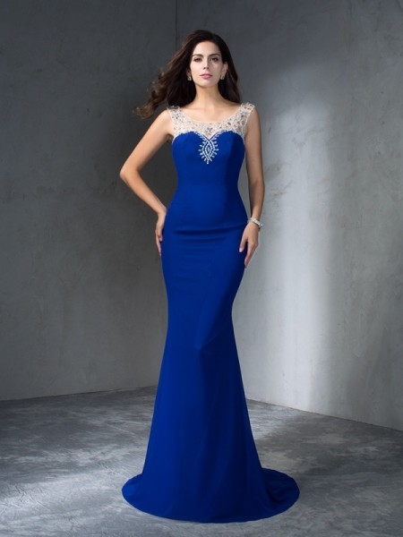 Trumpet/Mermaid Beading Sweep/Brush Train Scoop Sleeveless Chiffon Dresses