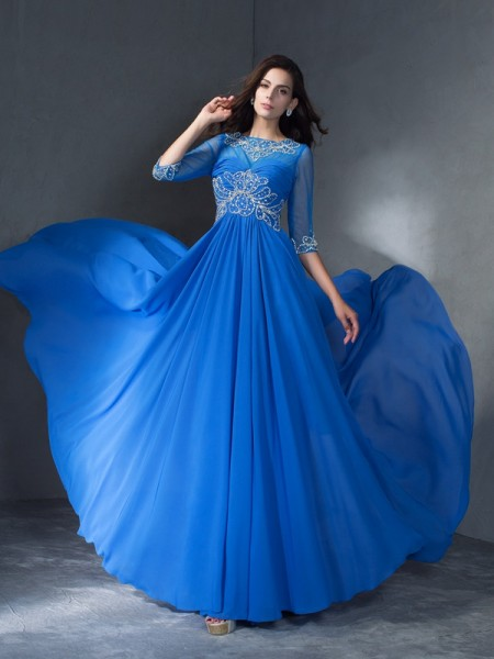 A-Line/Princess Beading Sweep/Brush Train Scoop 1/2 Sleeves Chiffon Dresses