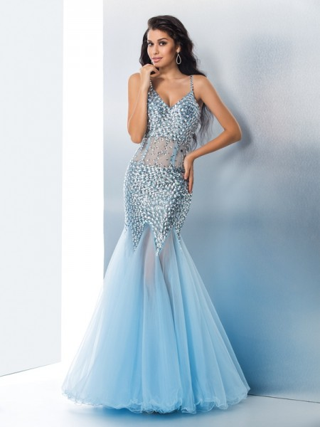 Trumpet/Mermaid Sequin Floor-Length Spaghetti Straps Sleeveless Organza Dresses