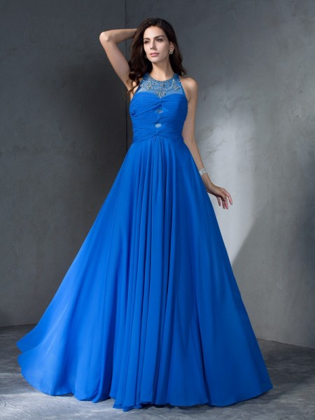 A-Line/Princess Beading Sweep/Brush Train Scoop Sleeveless Chiffon Dresses