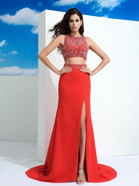 Sheath/Column Beading Court Train Scoop Sleeveless Chiffon Dresses