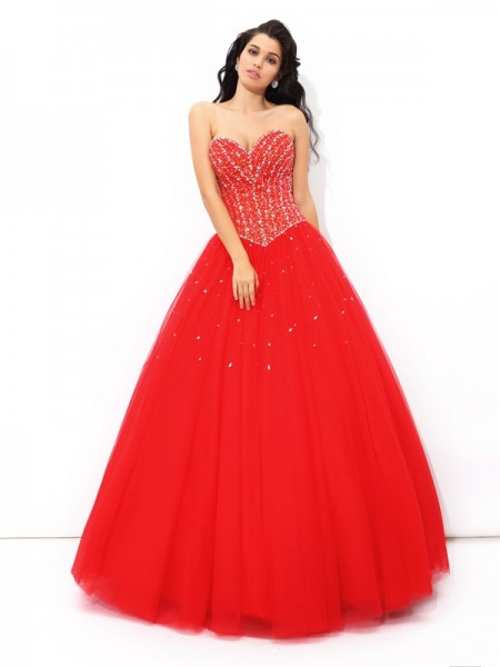 Ball Gown Beading Floor-Length Sweetheart Sleeveless Net Quinceanera Dresses