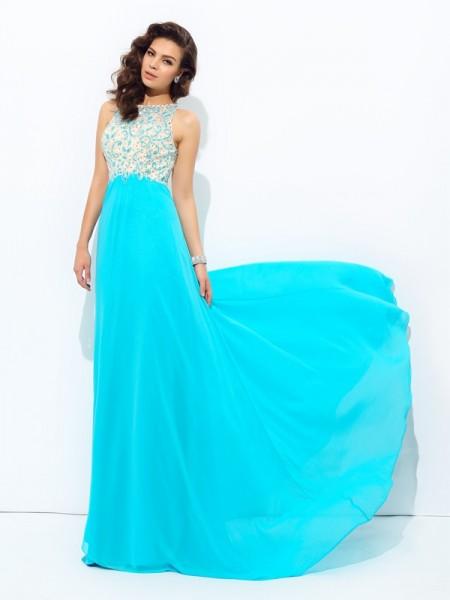 A-line/Princess Beading Floor-Length Scoop Sleeveless Chiffon Dresses
