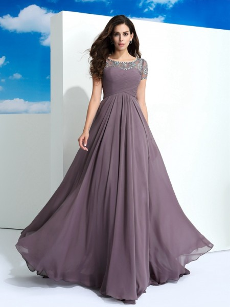 A-Line/Princess Beading Floor-Length Sheer Neck Short Sleeves Chiffon Dresses