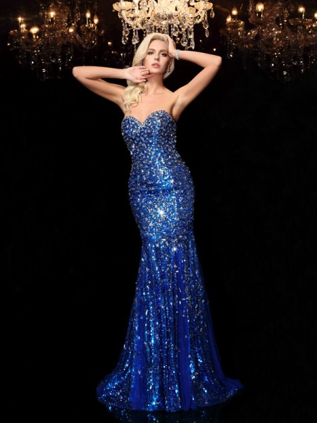 Trumpet/Mermaid Sequin Court Train Sweetheart Sleeveless Sequins Dresses
