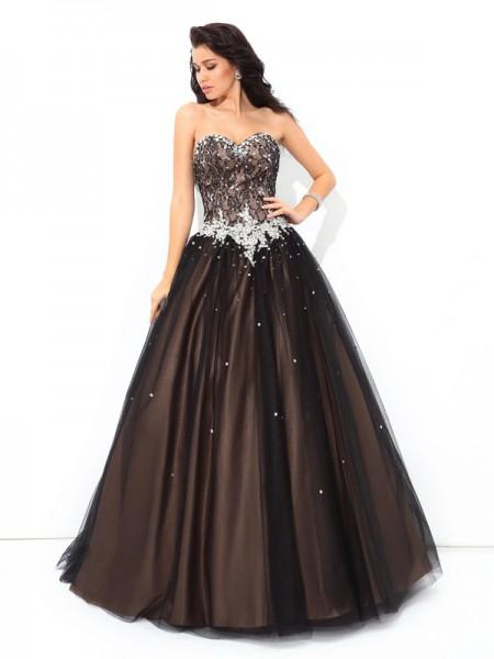 Ball Gown Beading Floor-Length Sweetheart Sleeveless Net Quinceanera Dresses