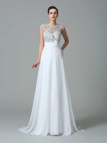 A-Line/Princess Beading Sweep/Brush Train Jewel Sleeveless Chiffon Dresses