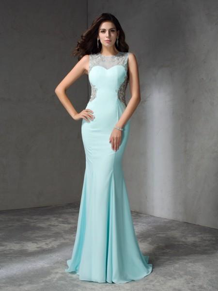 Trumpet/Mermaid Beading Sweep/Brush Train Jewel Sleeveless Chiffon Dresses