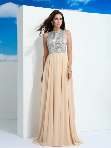A-Line/Princess Paillette Sweep/Brush Train Scoop Sleeveless Chiffon Dresses