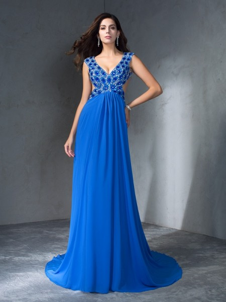 A-Line/Princess Sequin Sweep/Brush Train V-neck Sleeveless Chiffon Dresses