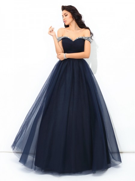 Ball Gown Beading Floor-Length Off-the-Shoulder Sleeveless Net Quinceanera Dresses