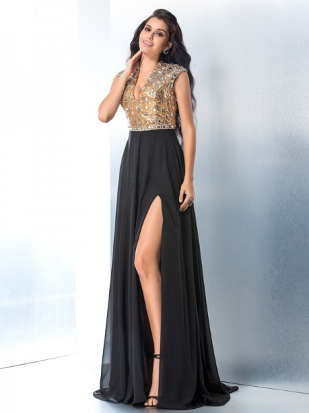 A-Line/Princess Rhinestone Sweep/Brush Train V-neck Sleeveless Chiffon Dresses